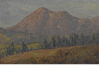 trees on a ridge with purple mountains beyond by maurice braun