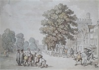 st. giles, oxford from near st. johns by thomas rowlandson
