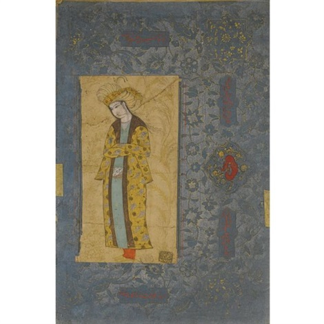 a portrait of a standing youth with a gold robe by reza i abbasi