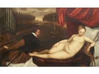venus with an organist and a dog by titian (tiziano vecelli)
