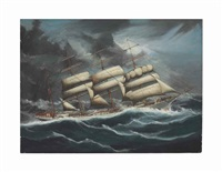 the clipper ship austrasia in foul weather by anglo-american school (19)