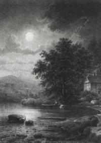 nächtliche landschaft mit teich und staffage by hermann kramer