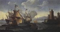 bataille navale aux abords d'un port fortifié by abeille