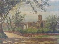 vue de la vieille ville de st. raphaël et bord de mer à st. raphaël (pair) by william baptiste baird