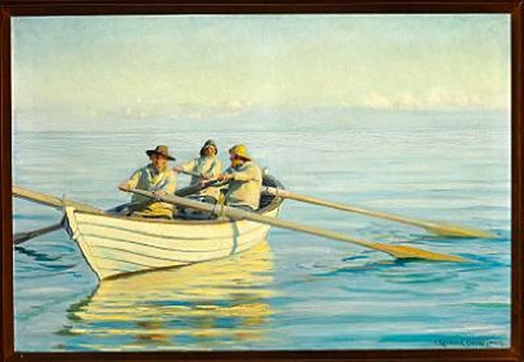 fishermen in a rowing boat at sea, in front fisherman and rescuer ole svendsen by michael peter ancher