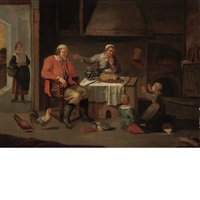 asleep at the table by david ryckaert iii