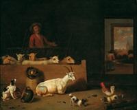 scheuneninterieur mit ziegen, hunden, federvieh und einem hirten by hubert van ravesteyn