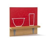 red bowl and red glass by b. wurtz