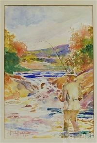 fishing on the river by philip little