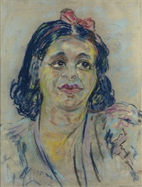 untitled (portrait of a woman with hair ribbon) by beauford delaney