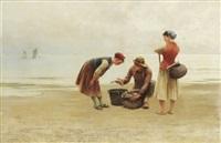 ostronplockerskor och fiskare, bretagne by august vilhelm nikolaus hagborg