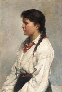 portrait of a young girl by nikolai alexeievich kasatkin