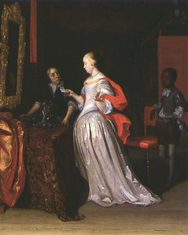 a lady holding a letter attended by a negro page by eglon hendrik van der neer