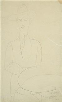 portrait d'abdul wahab assis devant un guéridon by amedeo modigliani
