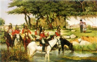 vanguard crossing a river by josé aguado y guerra