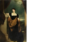 portrait of mrs james du pré, full-length, in a black dress, by a column, a mountainous landscape beyond by thomas lawrence