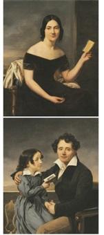 portrait de femme au carnet de bal (+ portrait d'un père et sa fille; pair) by henri françois riesener