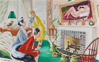 women embarrassed by barroom nude in hostess's house (illus. for esquire) by dorothy mckay