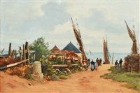 coastal scene in the bretagne by henri linguet