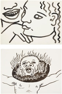 untitled (zena at 17 years) (+ untitled, 1986; 2 works) by keith haring