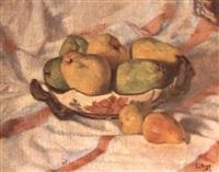 nature morte aux poires et pommes by lucien vogt