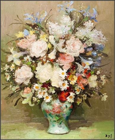 iris et roses by marcel dyf