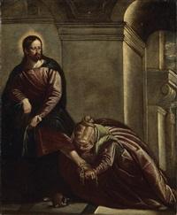 marie-madeleine lavant les pieds du christ by benedetto caliari