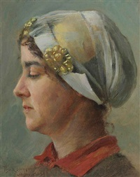 woman with white cap by theodore robinson