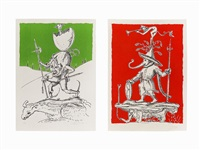 pair of lithographs, from pantagruel by salvador dalí