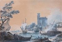bateaux dans un port méditerranéen by alexandre jean noel