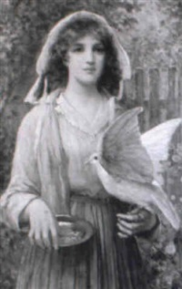 young lady feeding a dove in a garden by john scott
