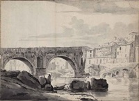 view of the ponte rotto in rome (recto); view of the ponte dei quattro capi or ponte fabricio over the tiber (verso) by jan worst
