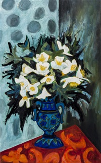 still life with vase of flowers by joan gillchrest