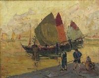 boats at the quay by rudolph negely