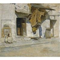 orientalist street scene (north africa?) by symeon sabbides