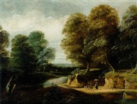 waldlandschaft mit figuren by philippe van dapels