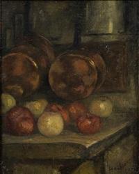 nature morte aux pommes et cuivres by joseph bail