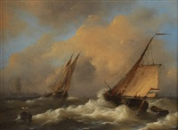 voiliers hollandais sur une mer houleuse by govert van emmerik