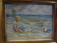 jeune fille et son chien au bord de la mer by jacques albert