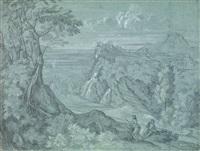 vue de frascati animée de personnages dont probablement le peintre lui-même by salomon corrodi