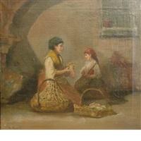 a mother teaching her daughter by theodore bernard de heuvel