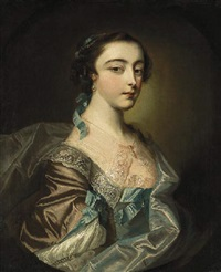 portrait of a lady of the armstong family of kilsharvan, co. meath, seated in a brown dress and a blue wrap with a lace collar by john astley