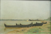 boats at the border of the danube by constantin artachino