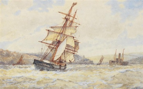 french fishing boats off dartmouth pair by frederick james aldridge