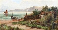 coastal scenery with fishermen at the shore by william gilbert foster