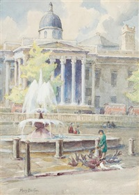 girl feeding pigeons by a london fountain by mary georgina barton