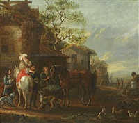 travellers resting at an inn by philips wouwerman