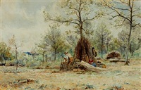 figures making hurdles in a woodland glade by james aumonier