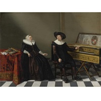 marriage portrait of a husband and wife of the lossy de wariné family by gerard van donck