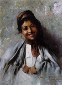 jeune fille souriante by georges gasté
